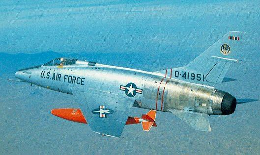 F-100D #54-1951, F-100C over mountain range (donated