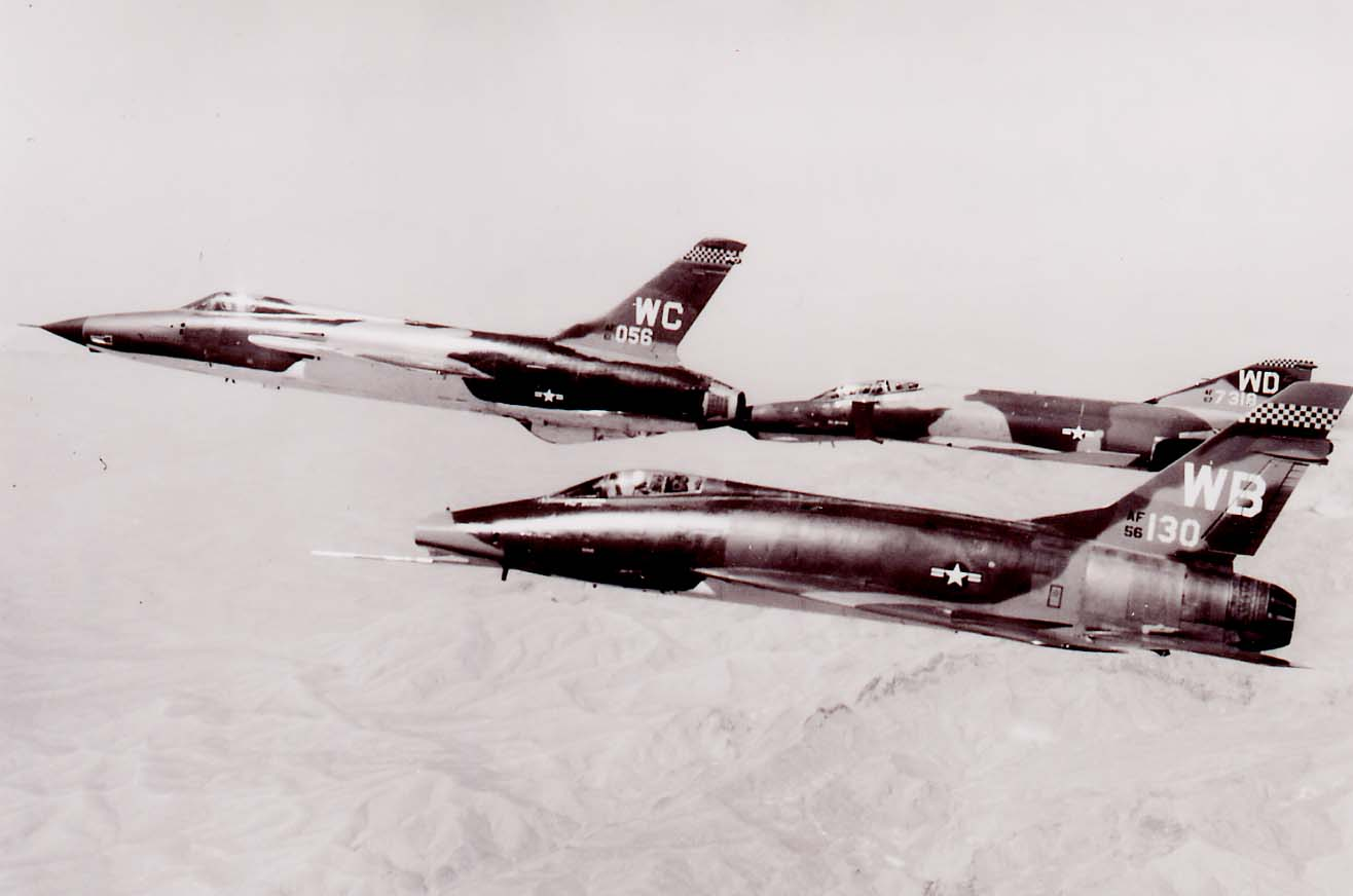 F-100D #56-3130, F-100D in formation with F-105 and