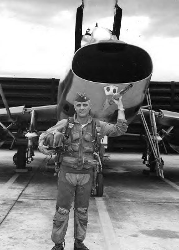 F-100D, Maj. Dick Roussell in front of 