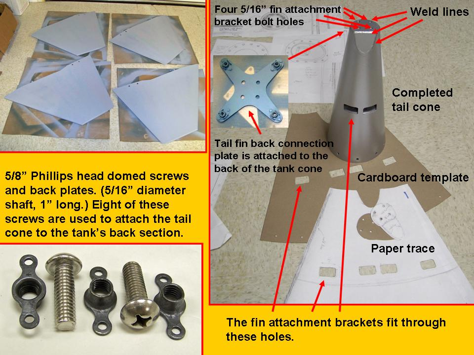 A composite picture of the 275-gallon tank cone, fins, and fasteners. 