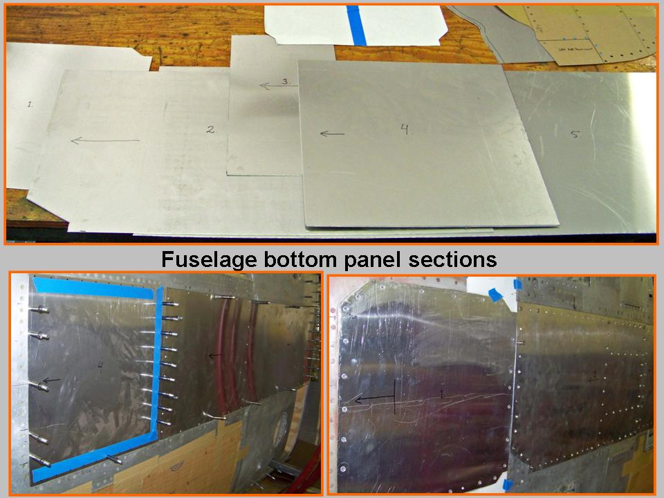 Composite picture of several bottom skin panels. 