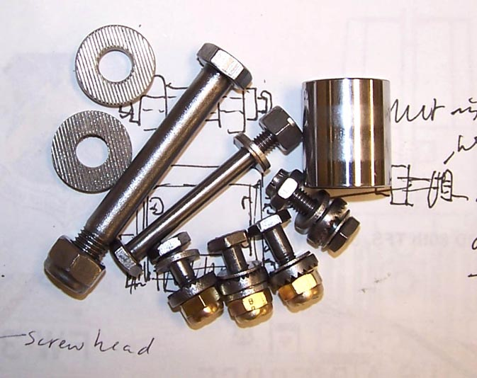 Picture of cleaned and polished gear door actuator bolts. Click on the picture to enlarge it.