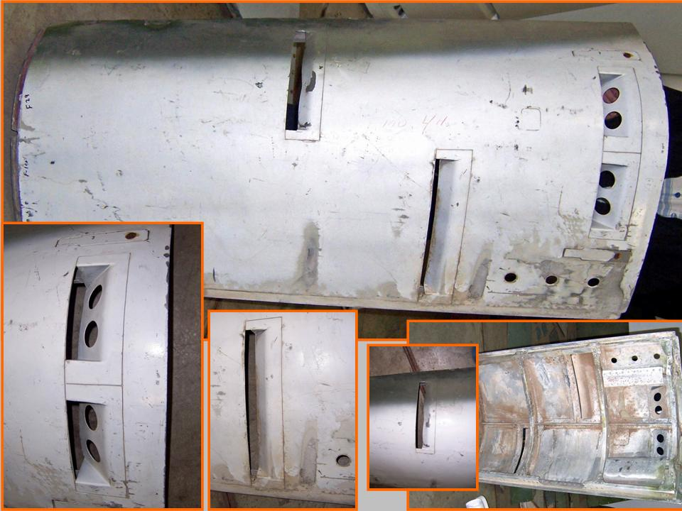 Composite picture of left gun bay door and its components. 