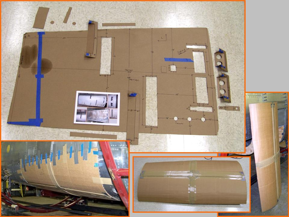 A composite picture of the gun bay door templates.