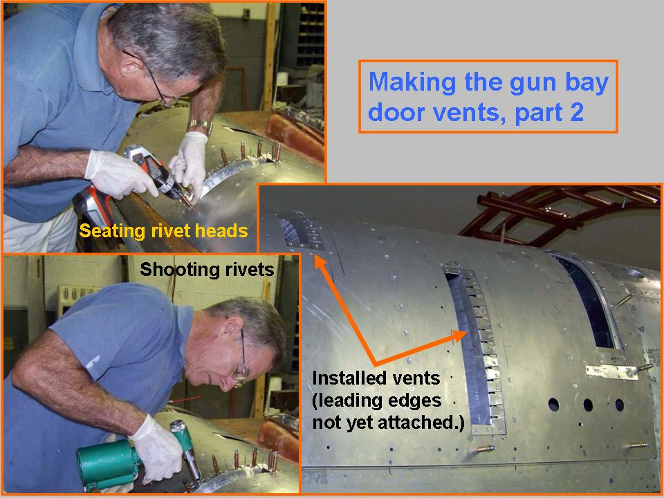 A composite picture showing gun bay door vent installation. 