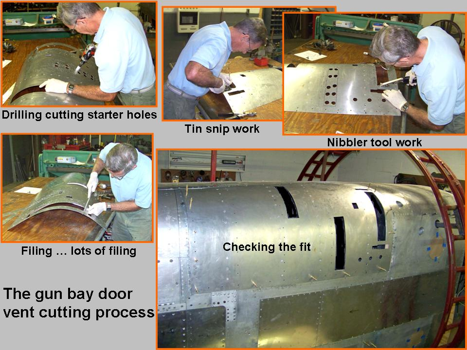Composite picture of gun bay door vents and fastener holes. 