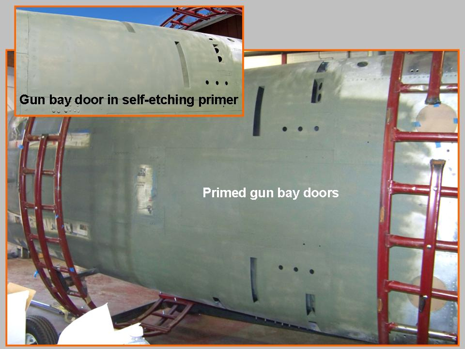 A composite picture showing the completed gun bay doors in primer paint. 