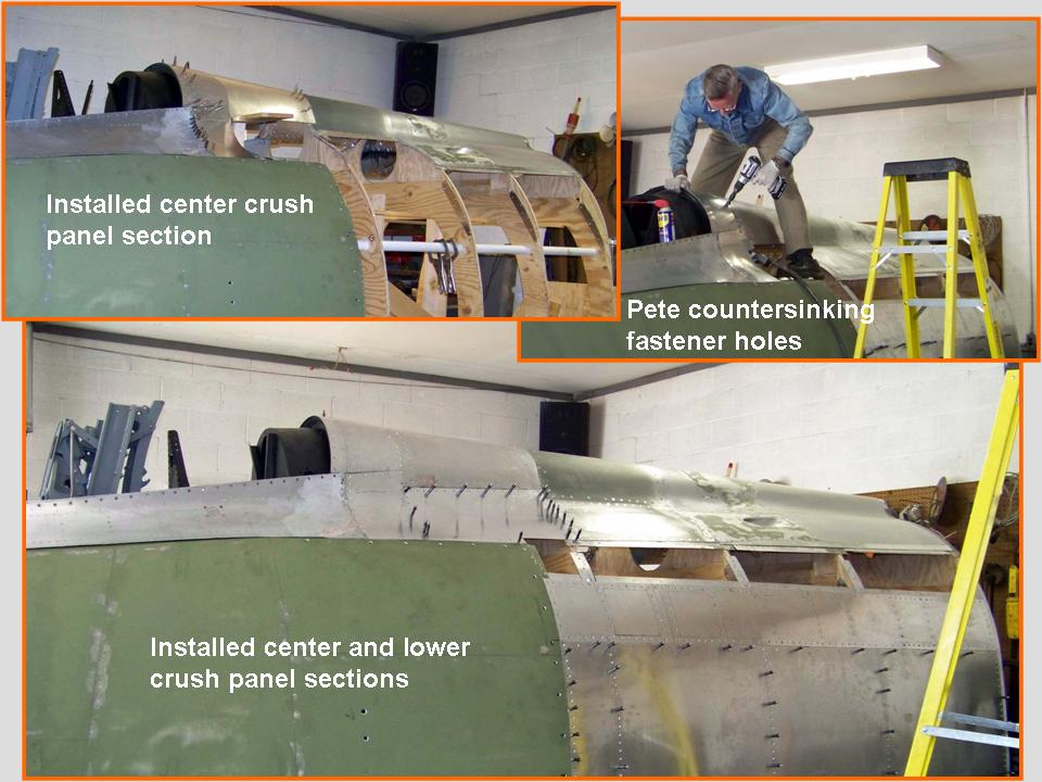 A composite picture of the installation of an aft-of-cockpit side panel.