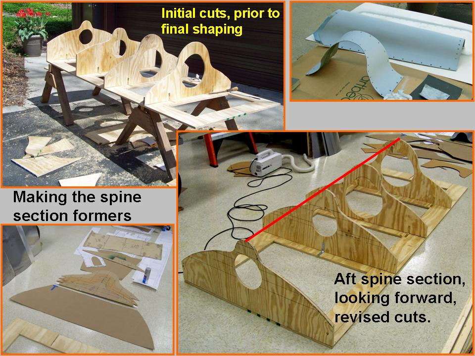 Composite picture of plywood formers that help define the spine shape. 