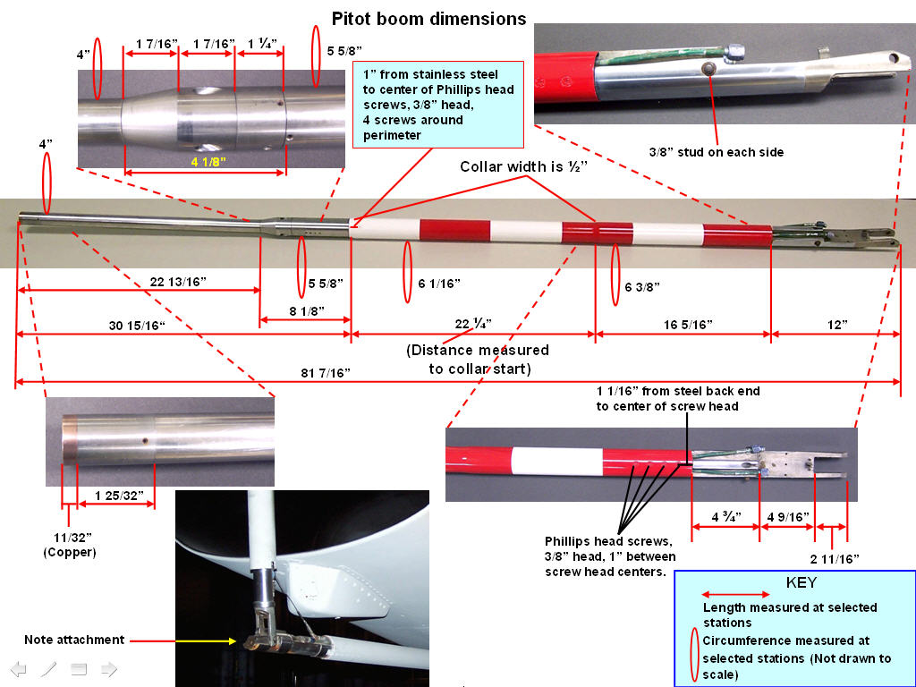 Pitot Boom Details and Measurements. Click on the picture to enlarge it.