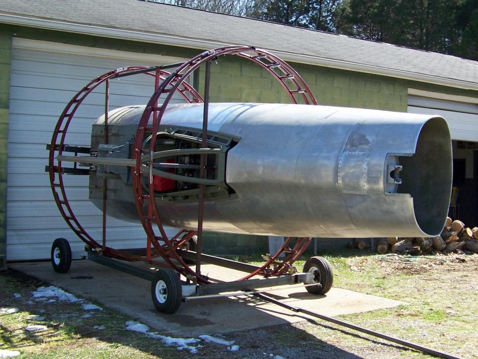 A picture of the F-100 fuselage after the 90-degree roll was completed. 