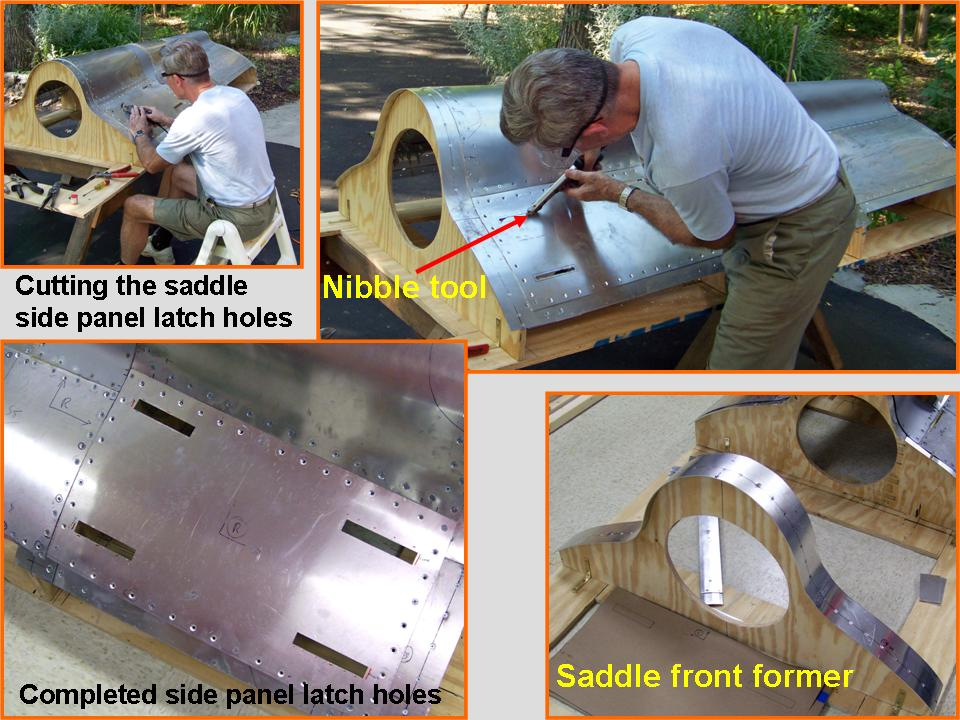 Composite picture showing the cutting of the saddle side panel latch holes. 
