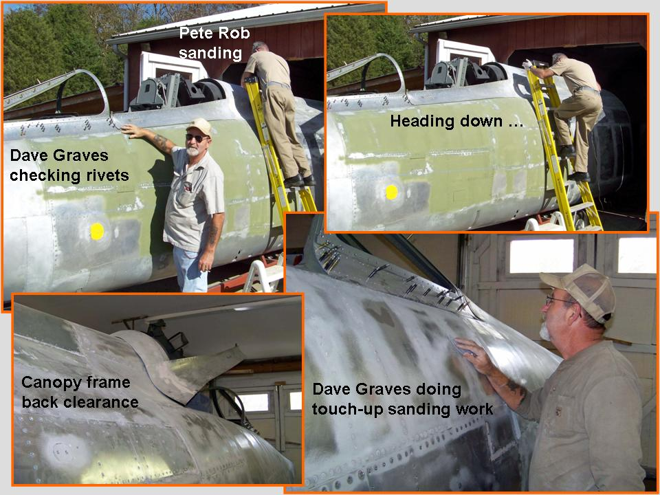 A composite picture that shows Dave Graves and Pete Rob doing lots of sanding work.