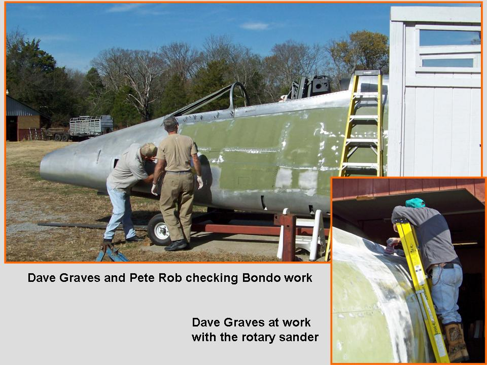 A composite picture that shows Dave Graves and Pete Rob doing Bondo work. 