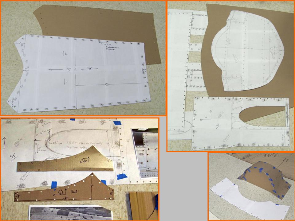 Basic spine section traces, cardboard templates, and first metal. 