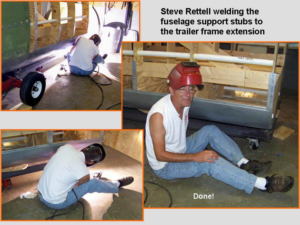 Composite picture of Steve Rettell welding the fuselage support stubs. 