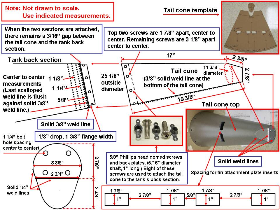 A picture of the 275-gallon tank tail cone drawing.  